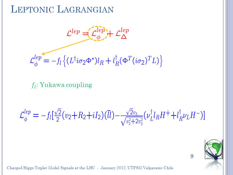 L EPTONIC L AGRANGIAN 9 Charged Higgs Triplet Model Signals at the LHC - January 2012, UTFSM Valparaiso Chile