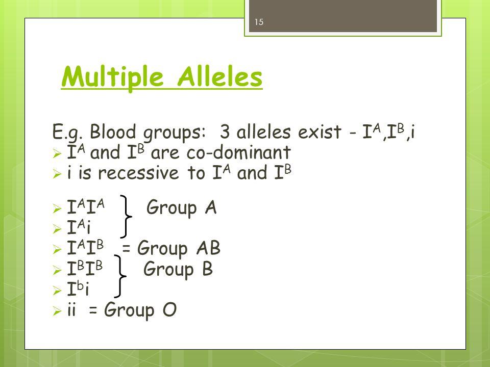 Multiple Alleles E.g.