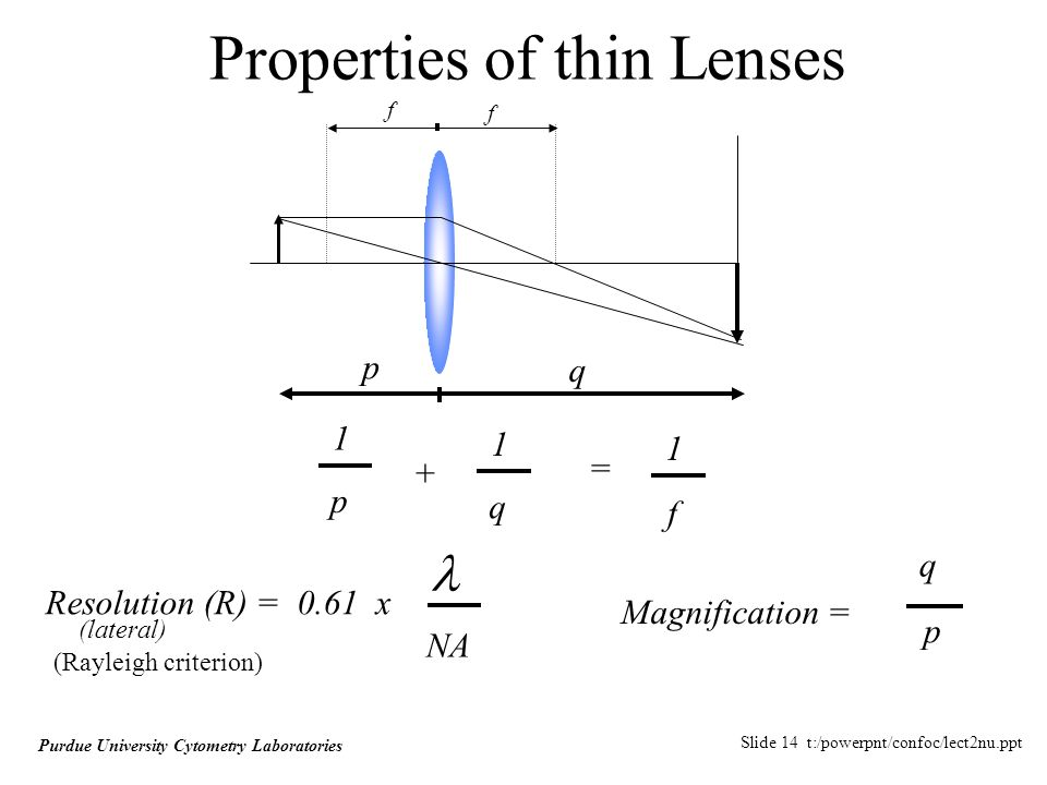 Slide 14 t:/powerpnt/confoc/lect2nu.ppt Purdue University Cytometry Laboratories Properties of thin Lenses f 1 p + 1 q = 1 f f p q Resolution (R) = 0.61 x NA Magnification = q p (lateral) (Rayleigh criterion)