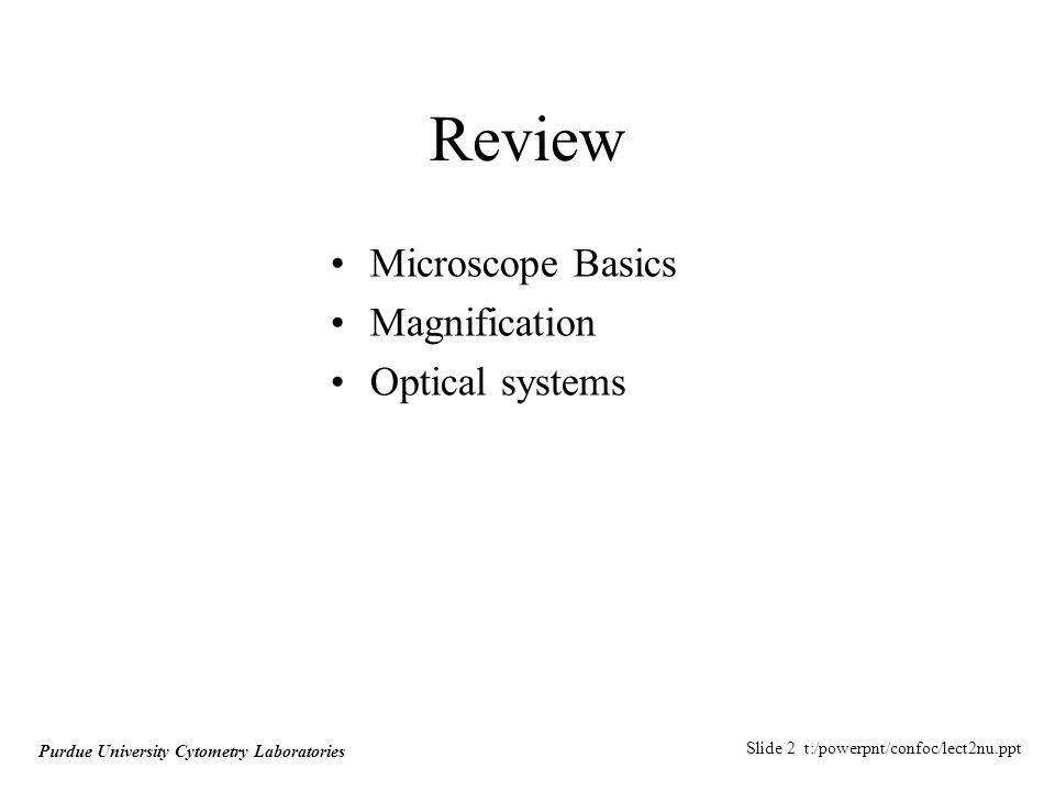 Slide 3 t:/powerpnt/confoc/lect2nu.ppt Purdue University Cytometry Laboratories Microscope Components Fluorescence Microscope Numerical Aperture Refractive Index Aberrations Objectives