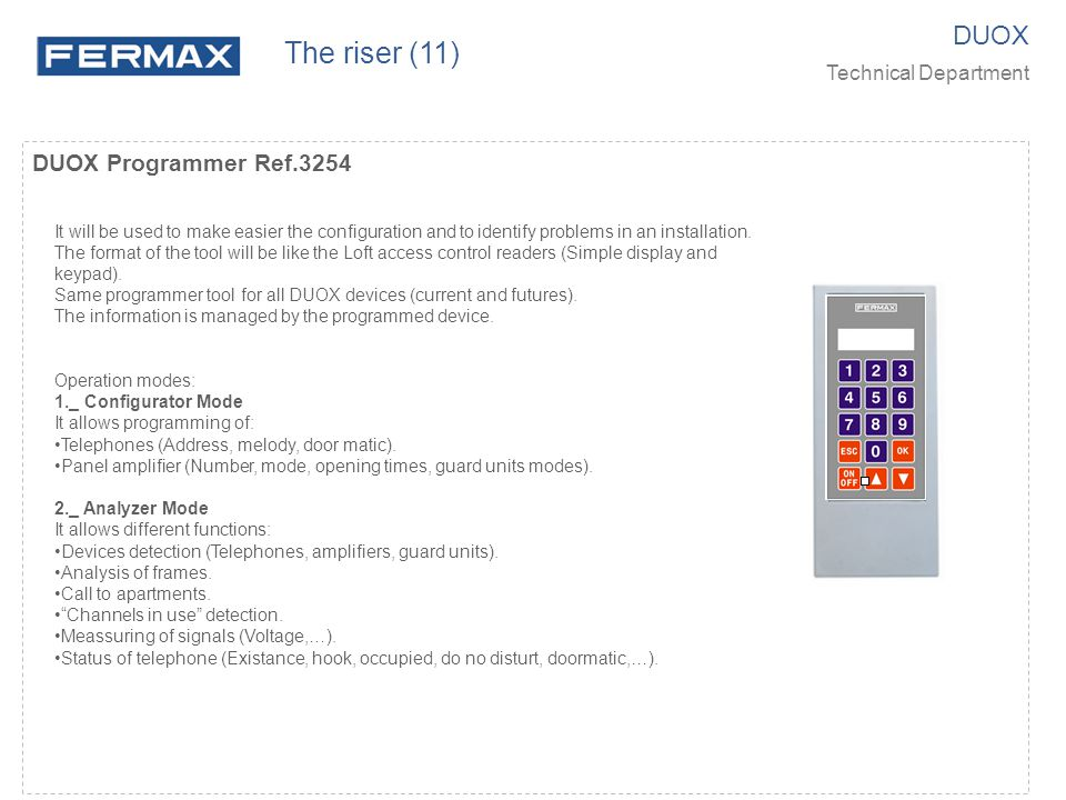 DUOX Programmer Ref.3254 It will be used to make easier the configuration and to identify problems in an installation.