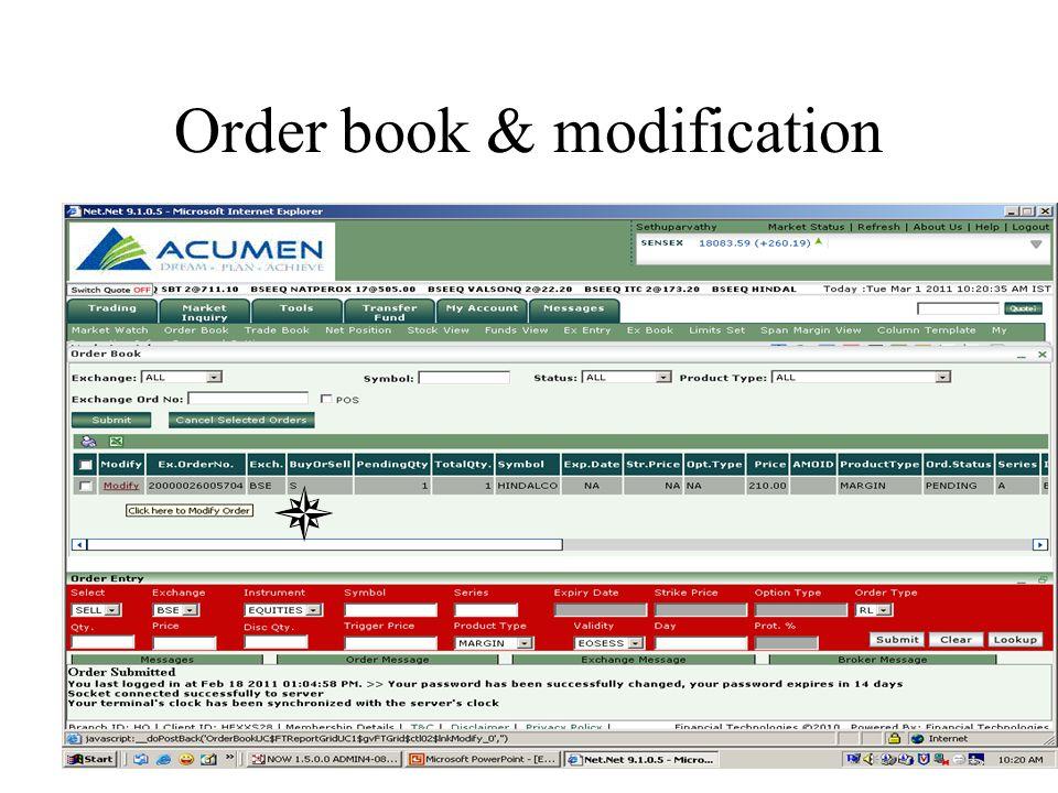 Order book & modification