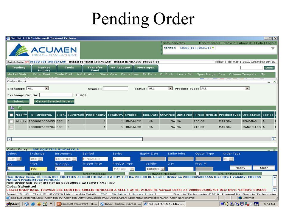 Pending Order