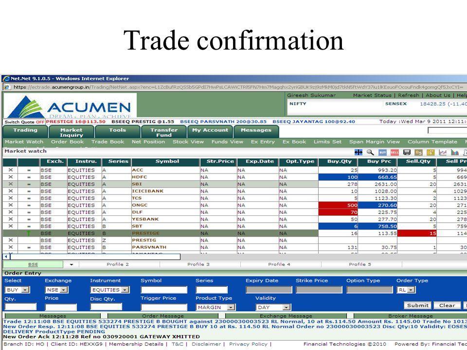 Trade confirmation