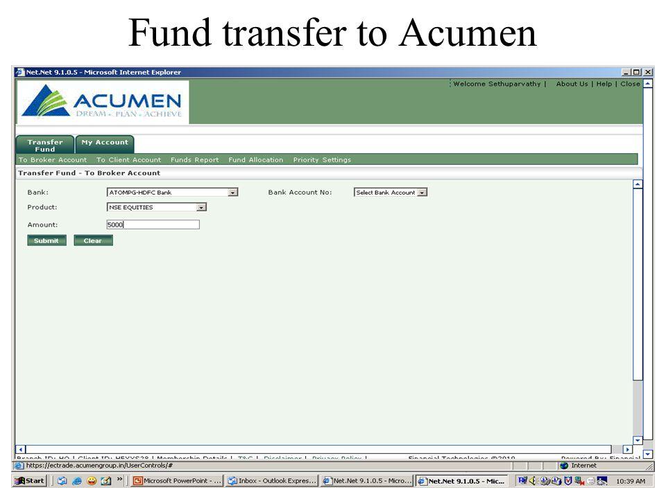 Fund transfer to Acumen