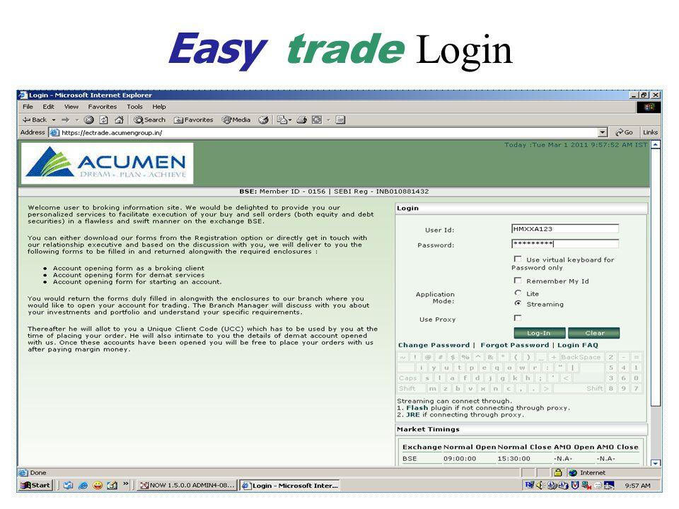 Easy trade Login