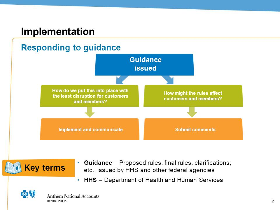 2 Implementation Responding to guidance Guidance issued How do we put this into place with the least disruption for customers and members? How might t