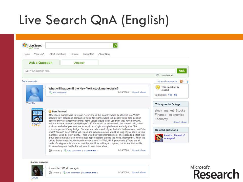 Live Search QnA (English)