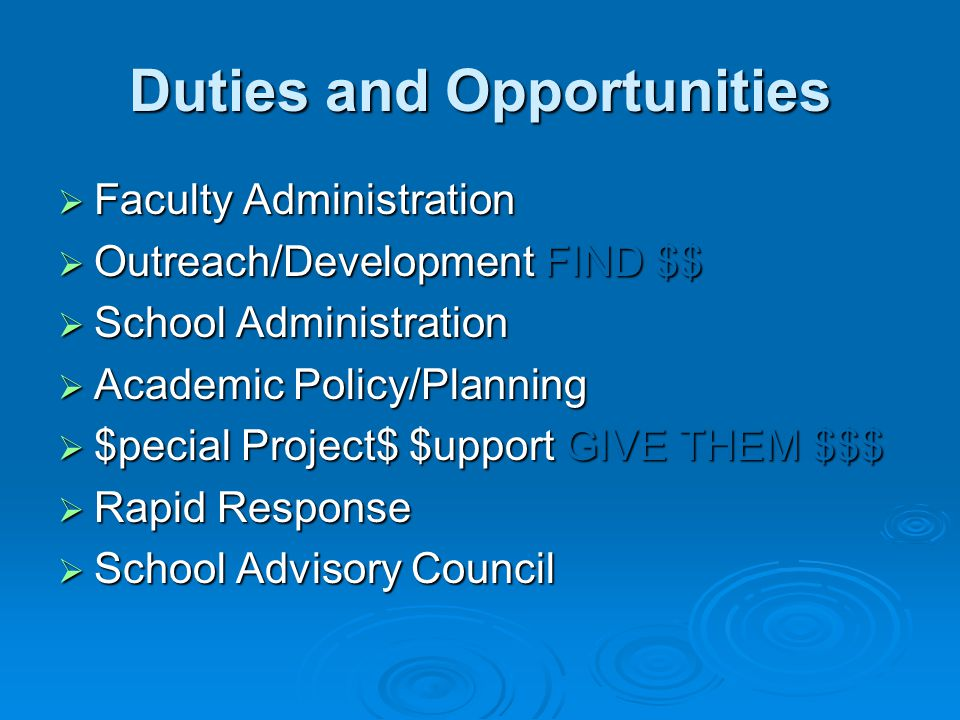 Duties and Opportunities  Faculty Administration  Outreach/Development FIND $$  School Administration  Academic Policy/Planning  $pecial Project$