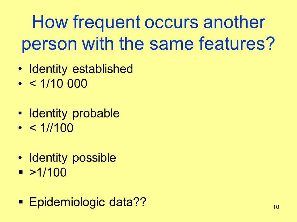 How frequent occurs another person with the same features? Identity established < 1/10 000 Identity probable < 1//100 Identity possible  >1/100  Epi