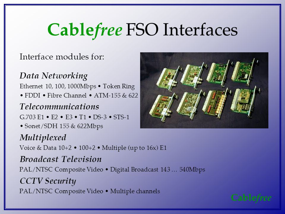 Cable free Cable free FSO Interfaces Interface modules for: Data Networking Ethernet 10, 100, 1000Mbps Token Ring FDDI Fibre Channel ATM-155 & 622 Telecommunications G.703 E1 E2 E3 T1 DS-3 STS-1 Sonet/SDH 155 & 622Mbps Multiplexed Voice & Data 10+2 100+2 Multiple (up to 16x) E1 Broadcast Television PAL/NTSC Composite Video Digital Broadcast 143 … 540Mbps CCTV Security PAL/NTSC Composite Video Multiple channels