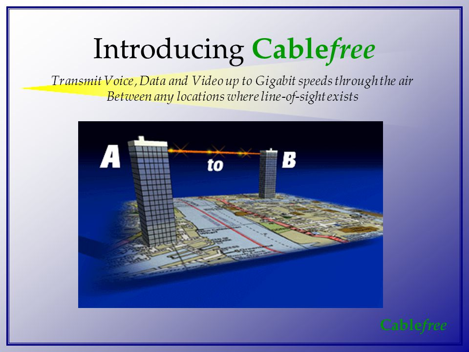 Cable free Introducing Cable free Transmit Voice, Data and Video up to Gigabit speeds through the air Between any locations where line-of-sight exists
