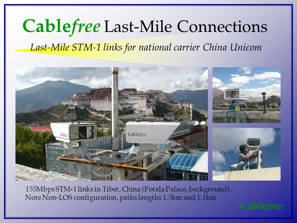 Cable free Cable free Last-Mile Connections Last-Mile STM-1 links for national carrier China Unicom 155Mbps STM-1 links in Tibet, China (Potala Palace, background).