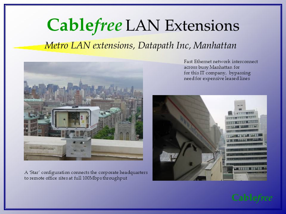 Cable free Cable free LAN Extensions Metro LAN extensions, Datapath Inc, Manhattan Fast Ethernet network interconnect across busy Manhattan for for this IT company, bypassing need for expensive leased lines A 'Star' configuration connects the corporate headquarters to remote office sites at full 100Mbps throughput