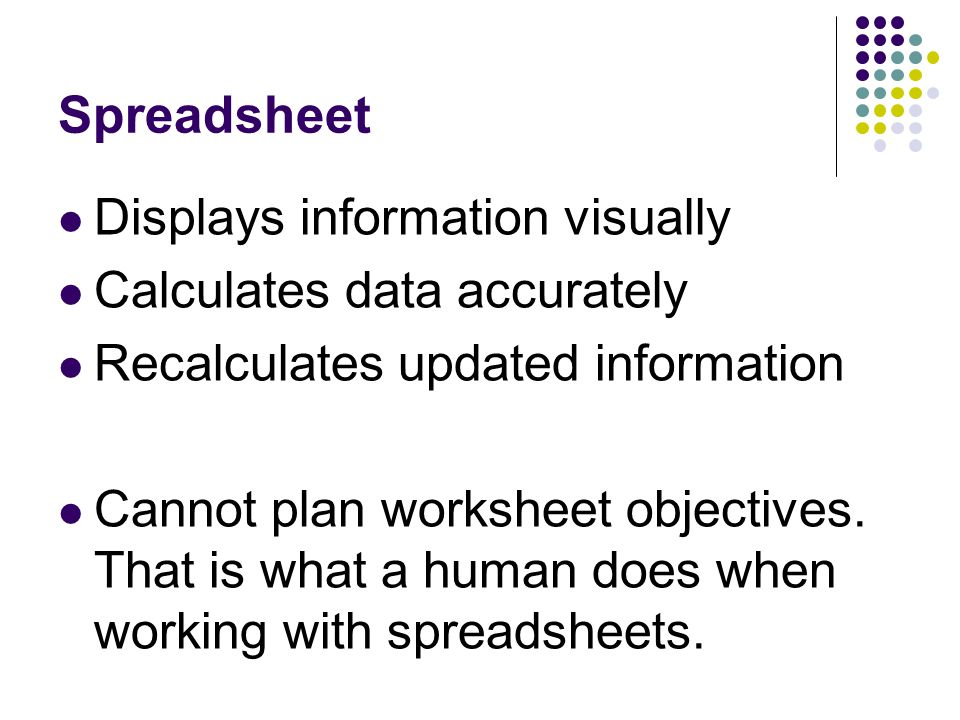 Spreadsheet Displays information visually Calculates data accurately Recalculates updated information Cannot plan worksheet objectives.