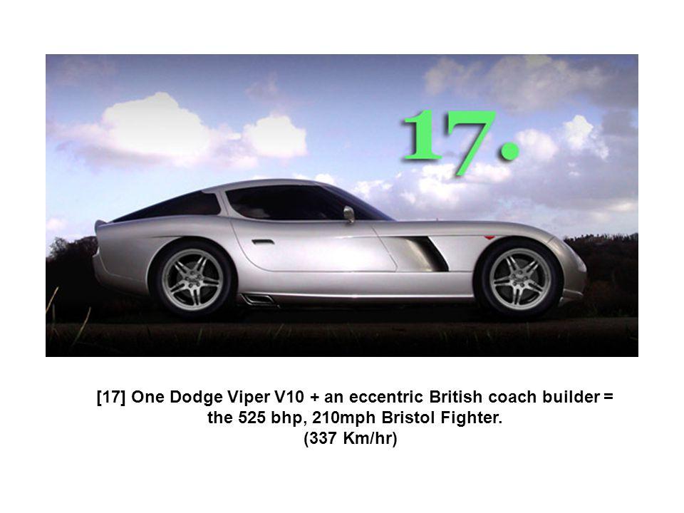 [17] One Dodge Viper V10 + an eccentric British coach builder = the 525 bhp, 210mph Bristol Fighter. (337 Km/hr)