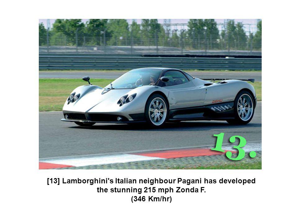 [13] Lamborghini's Italian neighbour Pagani has developed the stunning 215 mph Zonda F. (346 Km/hr)