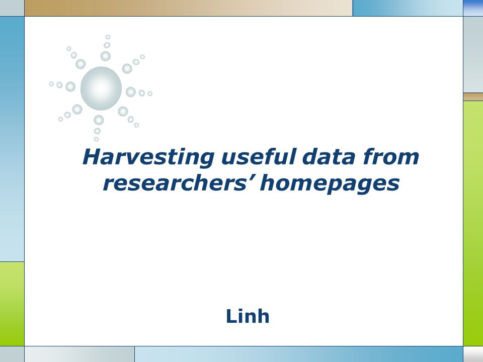 Linh Harvesting useful data from researchers' homepages