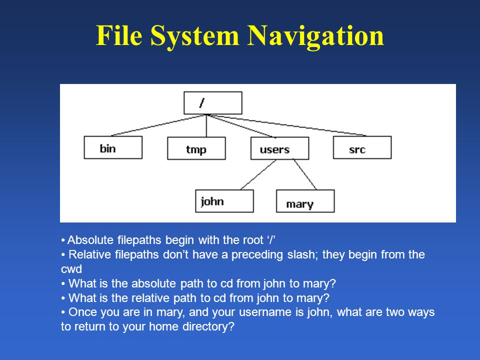 File System Navigation Absolute filepaths begin with the root '/' Relative filepaths don't have a preceding slash; they begin from the cwd What is the