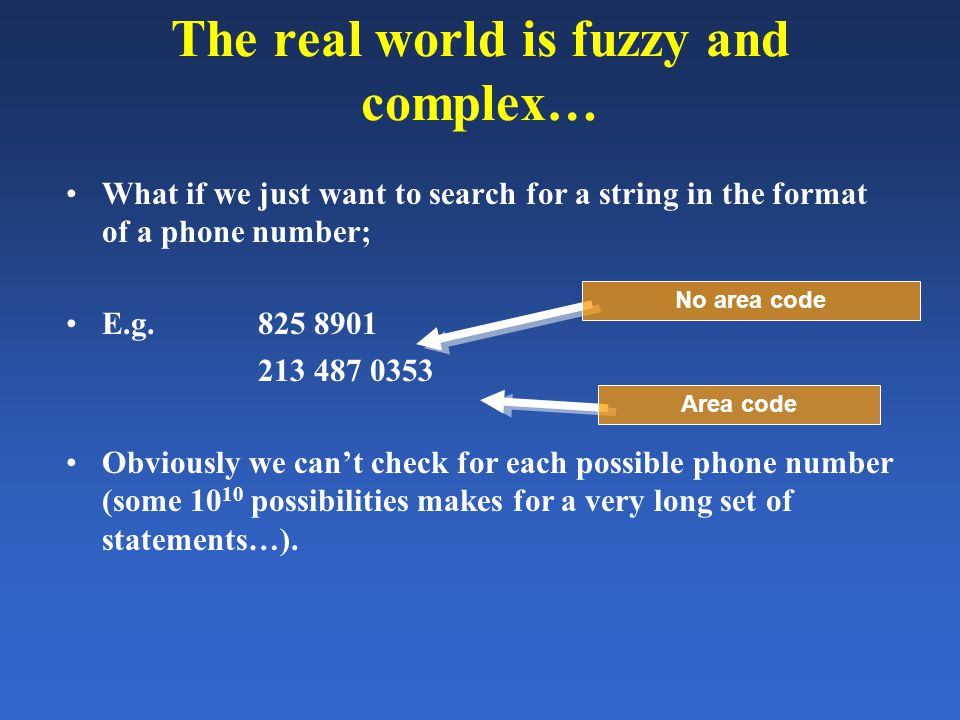 The real world is fuzzy and complex… What if we just want to search for a string in the format of a phone number; E.g. 825 8901 213 487 0353 Obviously