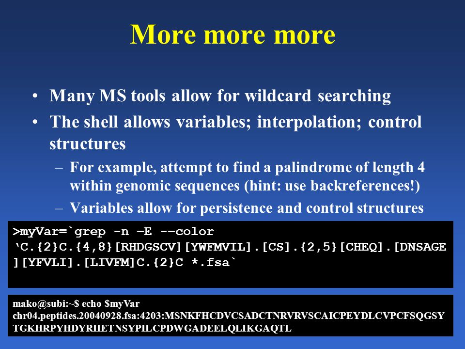 More more more Many MS tools allow for wildcard searching The shell allows variables; interpolation; control structures –For example, attempt to find