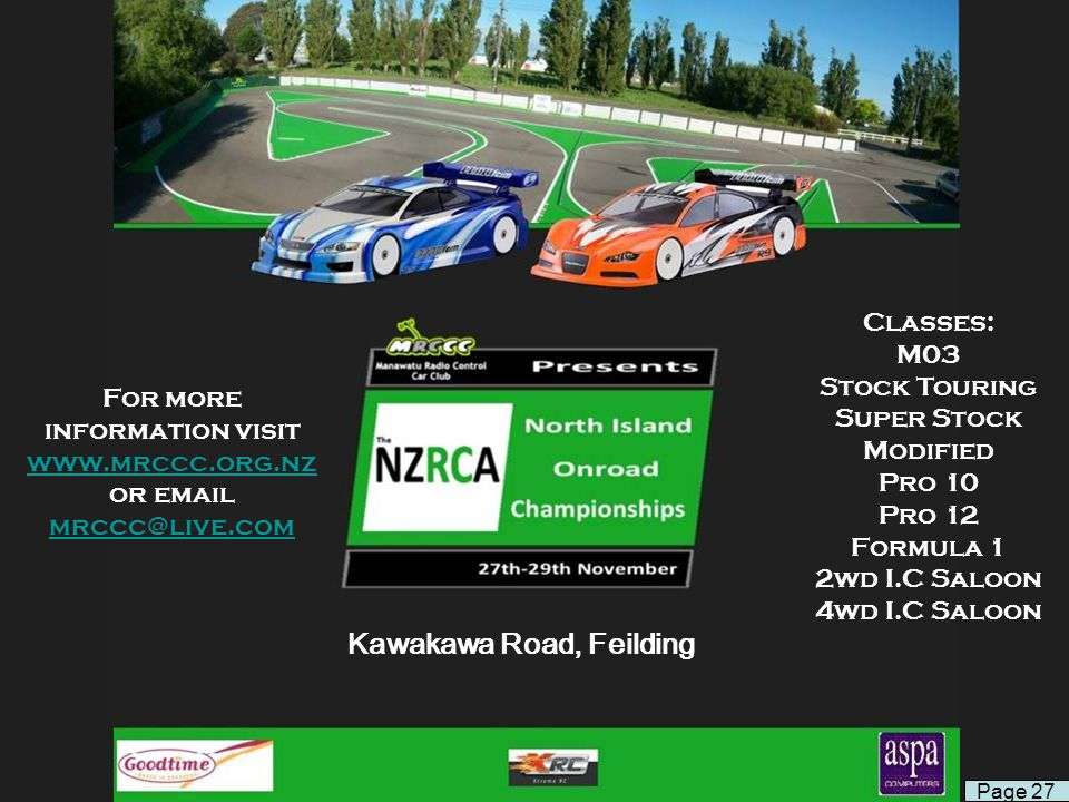Kawakawa Road, Feilding For more information visit www.mrccc.org.nz or email mrccc@live.com www.mrccc.org.nz mrccc@live.com Classes: M03 Stock Touring