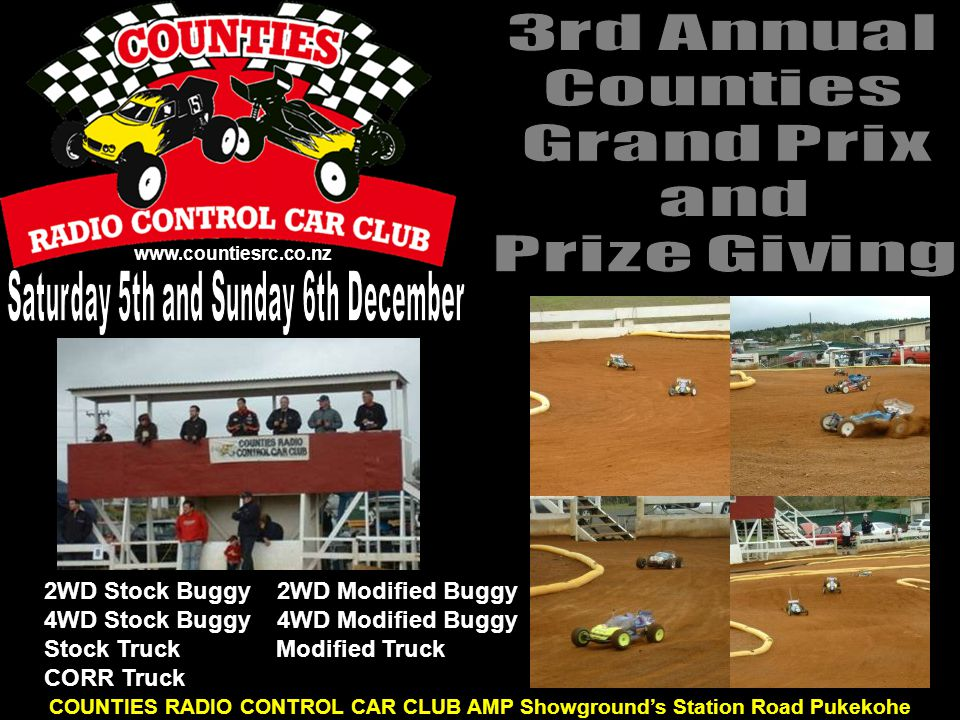 www.countiesrc.co.nz COUNTIES RADIO CONTROL CAR CLUB AMP Showground's Station Road Pukekohe 2WD Stock Buggy 2WD Modified Buggy 4WD Stock Buggy 4WD Mod