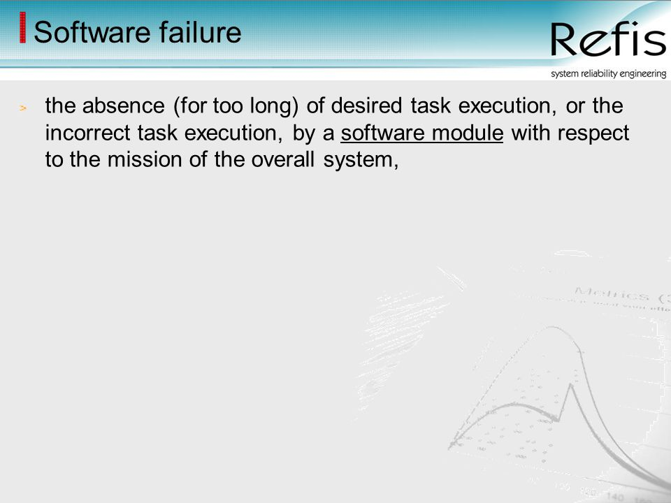 Software failure the absence (for too long) of desired task execution, or the incorrect task execution, by a software module with respect to the missi