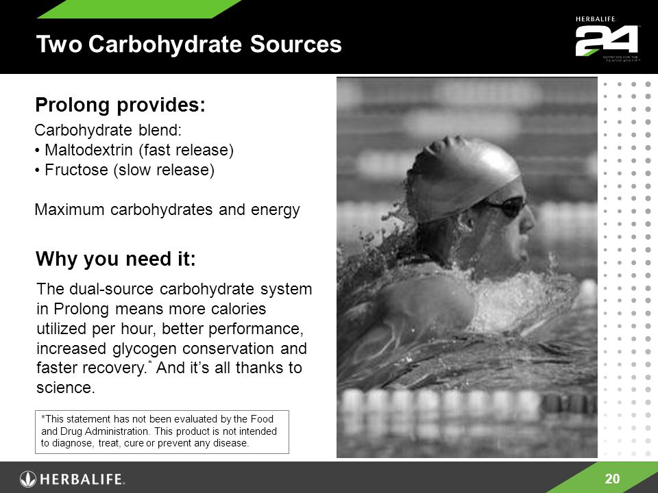 20 Two Carbohydrate Sources Carbohydrate blend: Maltodextrin (fast release) Fructose (slow release) Maximum carbohydrates and energy Prolong provides: Why you need it: The dual-source carbohydrate system in Prolong means more calories utilized per hour, better performance, increased glycogen conservation and faster recovery.