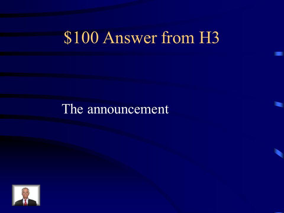 $100 Question from H3 Cómo se dice el anuncio en Inglés