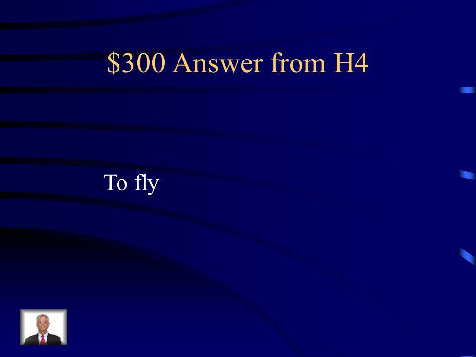 $300 Question from H4 Cómo se dice volar en Inglés