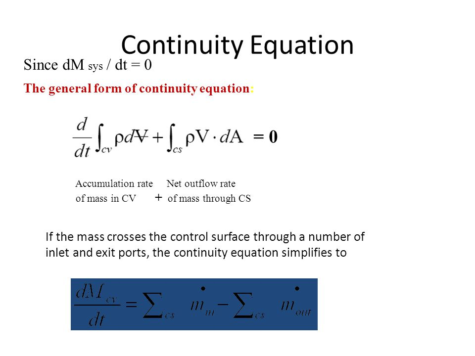 Continuity Equation Since dM sys / dt = 0 The general form of continuity equation: = 0 Accumulation rate Net outflow rate of mass in CV + of mass thro