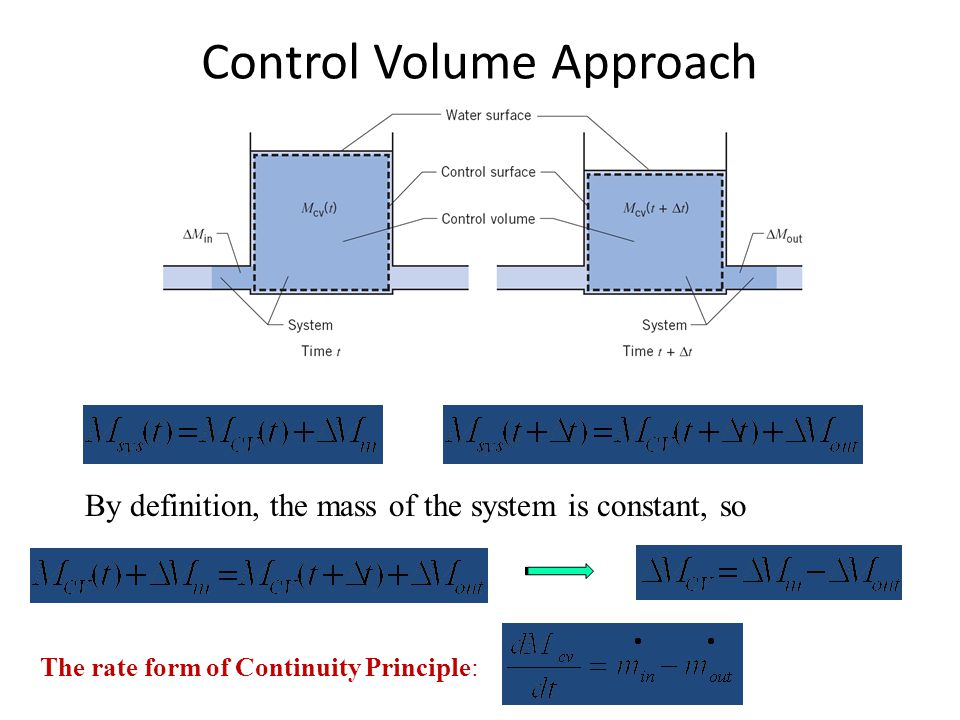 Control Volume Approach By definition, the mass of the system is constant, so The rate form of Continuity Principle: