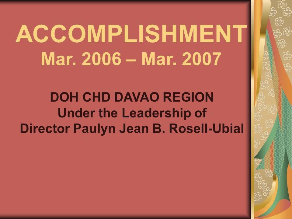 ACCOMPLISHMENT Mar. 2006 – Mar.