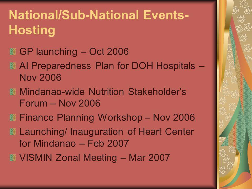 National/Sub-National Events- Hosting GP launching – Oct 2006 AI Preparedness Plan for DOH Hospitals – Nov 2006 Mindanao-wide Nutrition Stakeholder's Forum – Nov 2006 Finance Planning Workshop – Nov 2006 Launching/ Inauguration of Heart Center for Mindanao – Feb 2007 VISMIN Zonal Meeting – Mar 2007