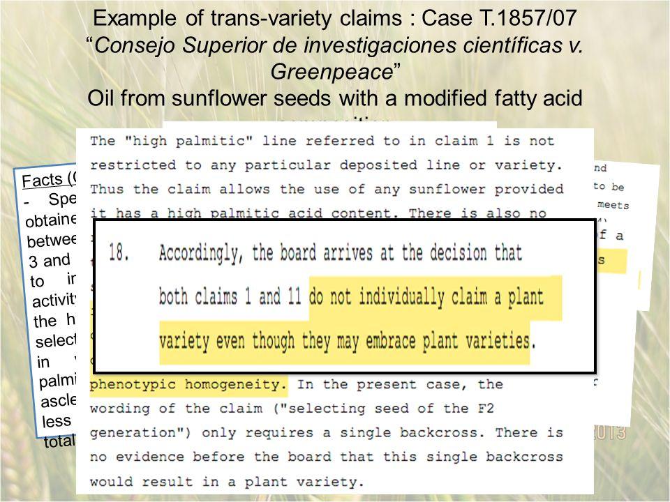 Example of trans-variety claims : Case T.1857/07 Consejo Superior de investigaciones científicas v.