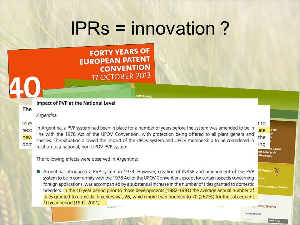 IPRs = innovation ?