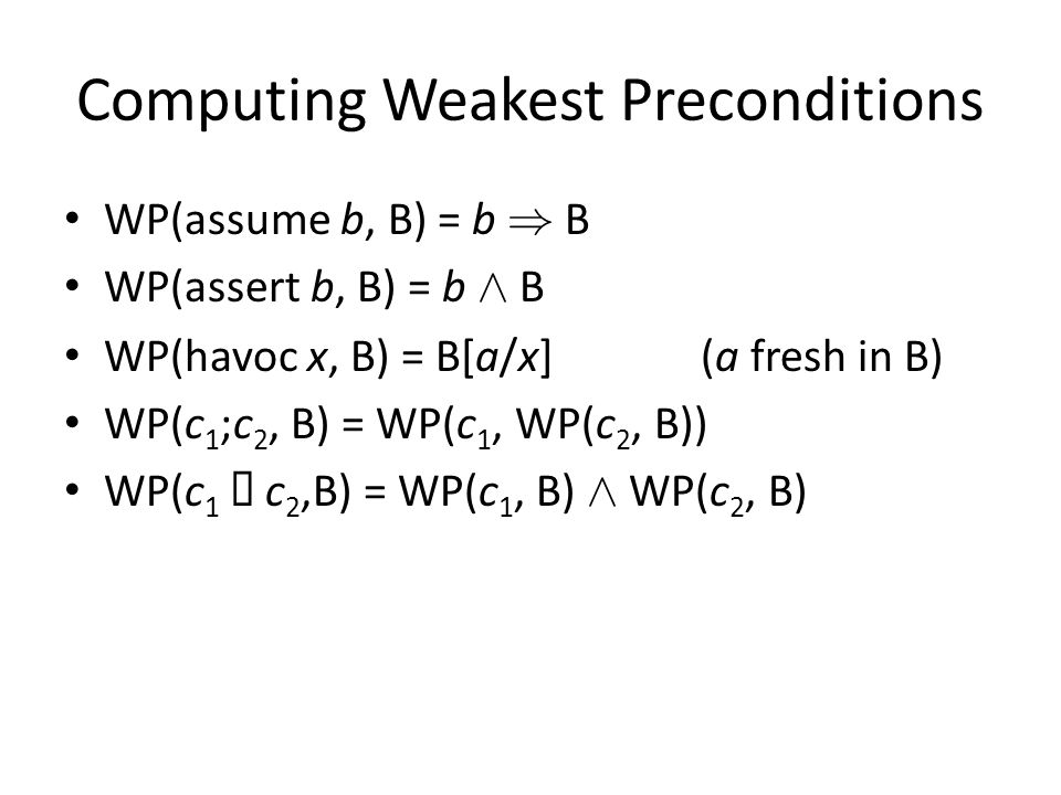 Computing Weakest Preconditions WP(assume b, B) = b ) B WP(assert b, B) = b Æ B WP(havoc x, B) = B[a/x](a fresh in B) WP(c 1 ;c 2, B) = WP(c 1, WP(c 2