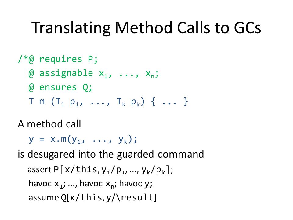 Translating Method Calls to GCs /*@ requires P; @ assignable x 1,..., x n ; @ ensures Q; T m (T 1 p 1,..., T k p k ) {... } A method call y = x.m(y 1,
