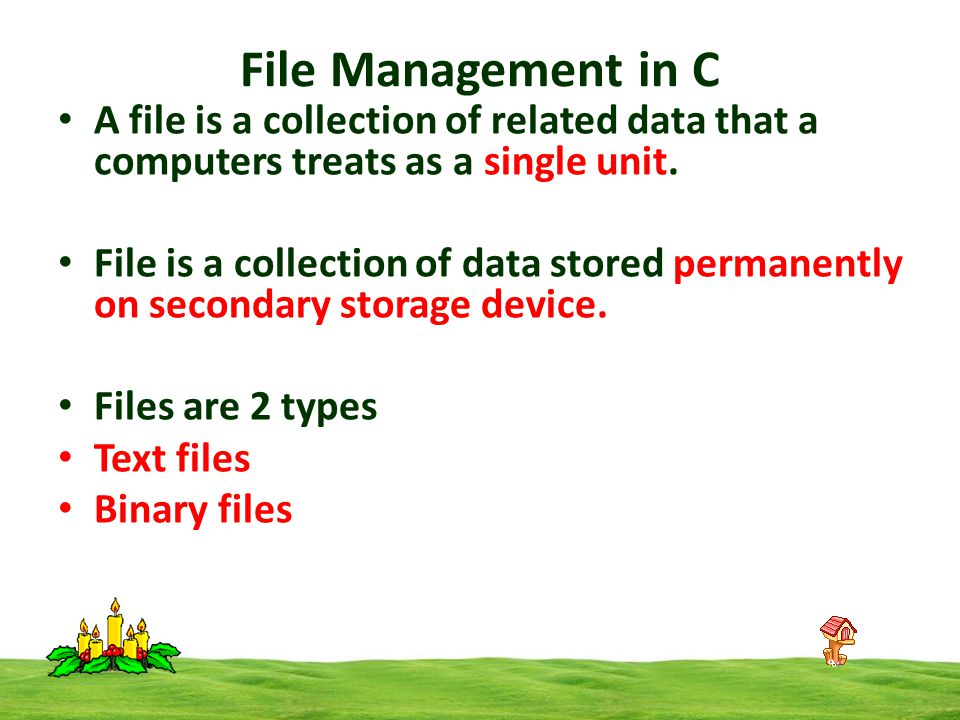 A file is a collection of related data that a computers treats as a single unit.