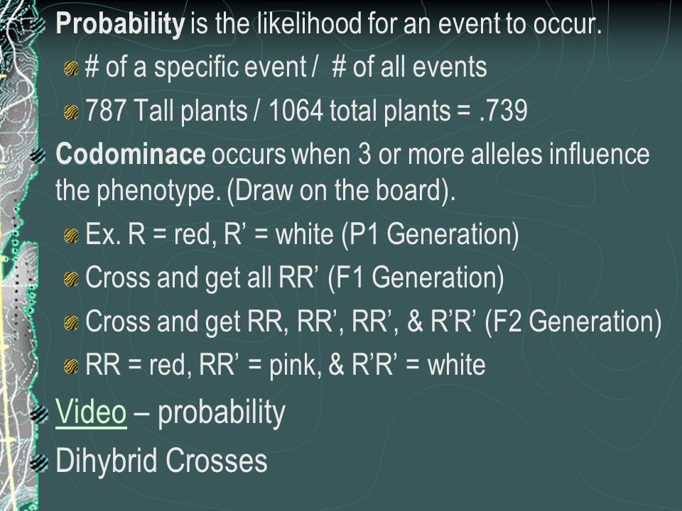 Probability is the likelihood for an event to occur.
