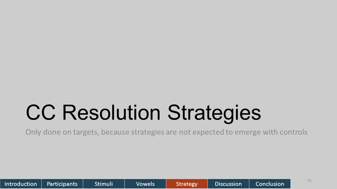 CC Resolution Strategies Only done on targets, because strategies are not expected to emerge with controls 26 IntroductionParticipantsStimuliVowelsStrategyDiscussionConclusion