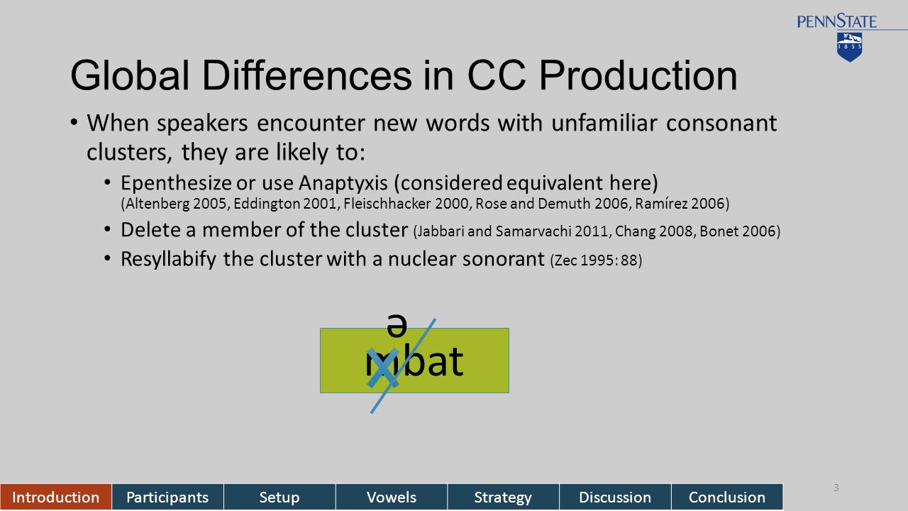 Global Differences in CC Production When speakers encounter new words with unfamiliar consonant clusters, they are likely to: Epenthesize or use Anaptyxis (considered equivalent here) (Altenberg 2005, Eddington 2001, Fleischhacker 2000, Rose and Demuth 2006, Ramírez 2006) Delete a member of the cluster (Jabbari and Samarvachi 2011, Chang 2008, Bonet 2006) Resyllabify the cluster with a nuclear sonorant (Zec 1995: 88) IntroductionParticipantsSetupVowelsStrategyDiscussionConclusion 3 mbat ə