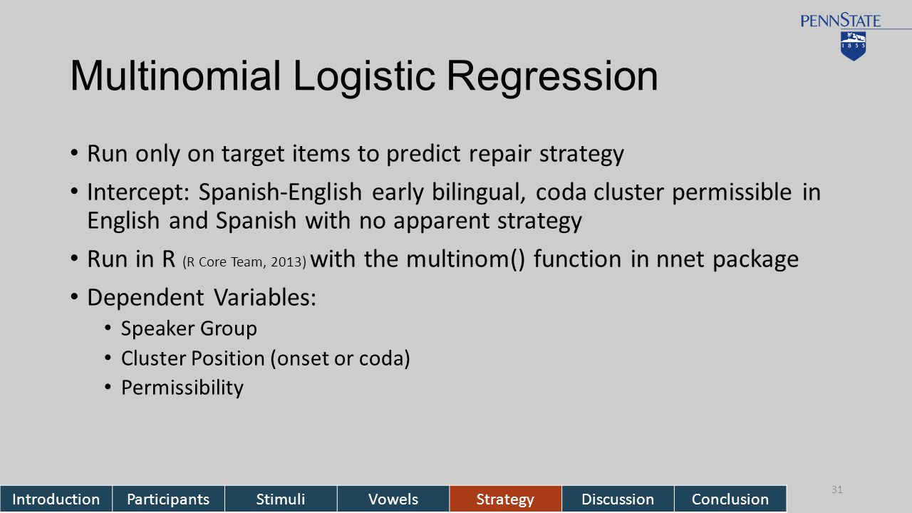 Multinomial Logistic Regression Run only on target items to predict repair strategy Intercept: Spanish-English early bilingual, coda cluster permissible in English and Spanish with no apparent strategy Run in R (R Core Team, 2013) with the multinom() function in nnet package Dependent Variables: Speaker Group Cluster Position (onset or coda) Permissibility IntroductionParticipantsStimuliVowelsStrategyDiscussionConclusion 31