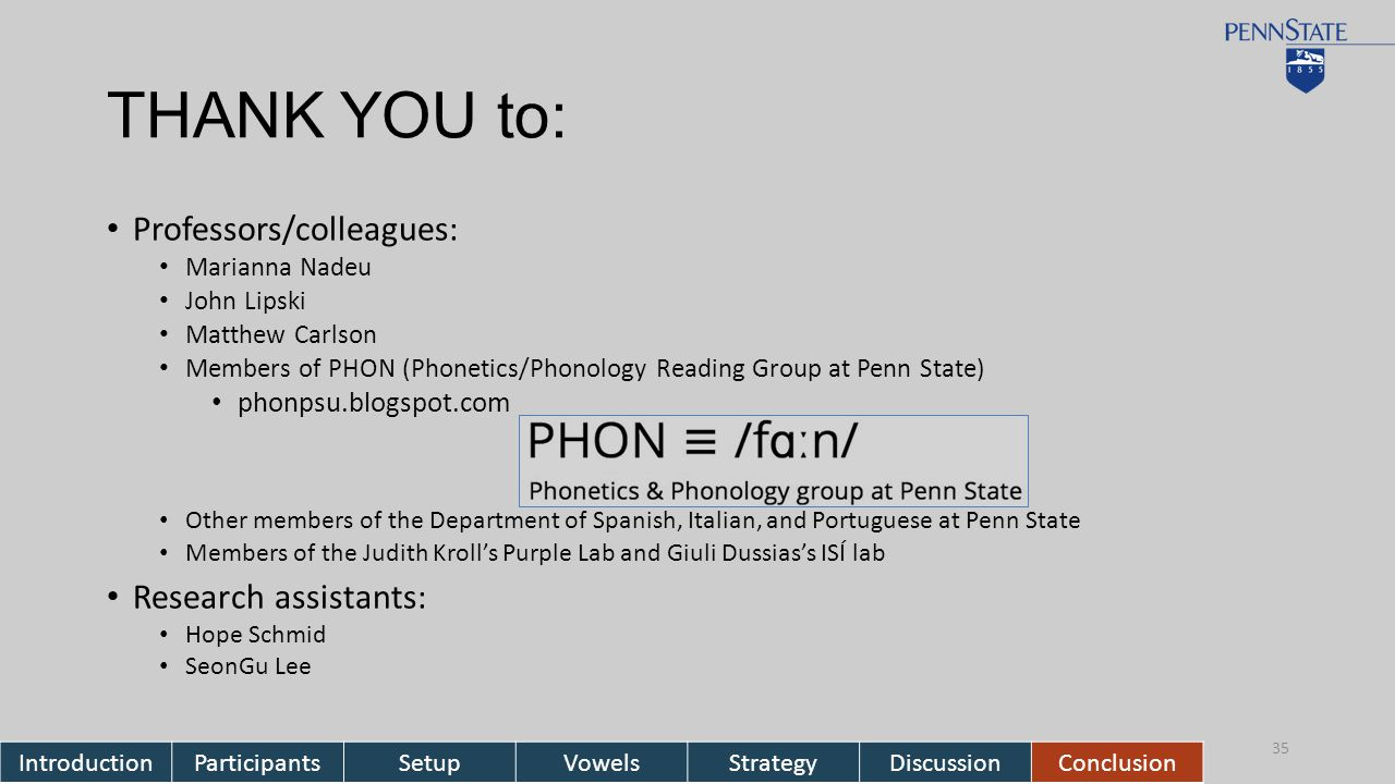 THANK YOU to: Professors/colleagues: Marianna Nadeu John Lipski Matthew Carlson Members of PHON (Phonetics/Phonology Reading Group at Penn State) phonpsu.blogspot.com Other members of the Department of Spanish, Italian, and Portuguese at Penn State Members of the Judith Kroll's Purple Lab and Giuli Dussias's ISÍ lab Research assistants: Hope Schmid SeonGu Lee 35 IntroductionParticipantsSetupVowelsStrategyDiscussionConclusion