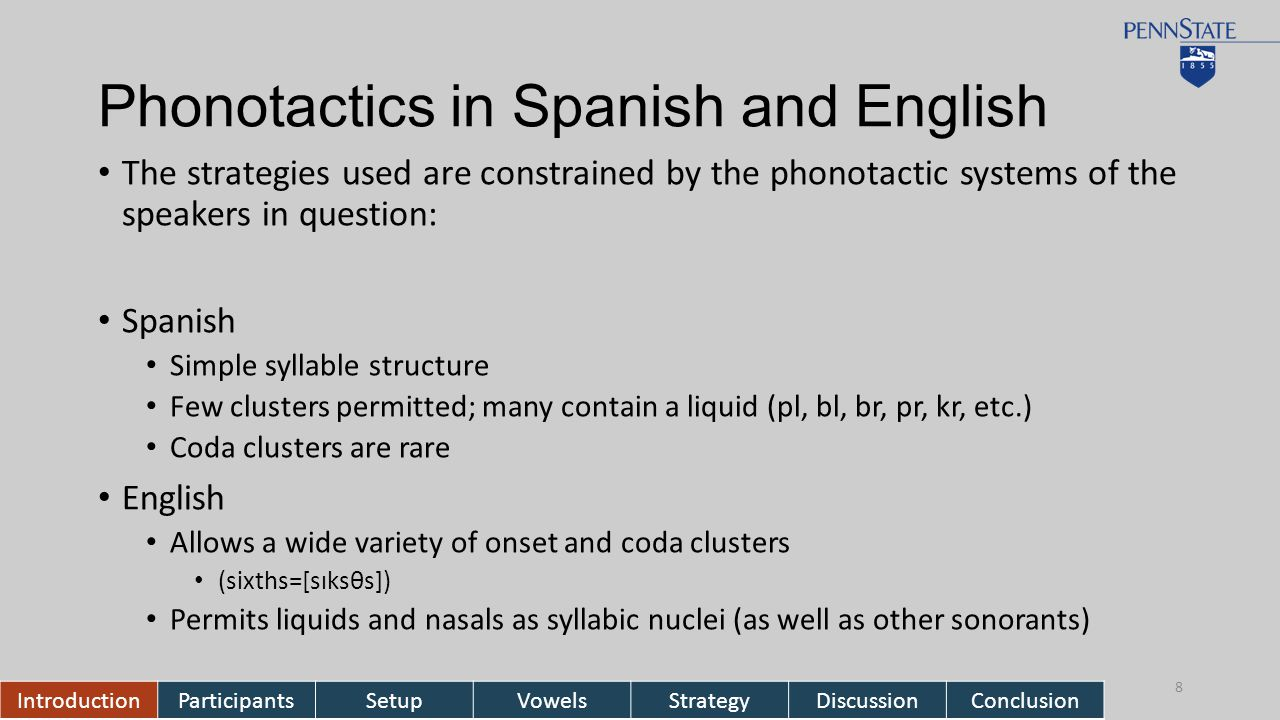 Phonotactics in Spanish and English The strategies used are constrained by the phonotactic systems of the speakers in question: Spanish Simple syllable structure Few clusters permitted; many contain a liquid (pl, bl, br, pr, kr, etc.) Coda clusters are rare English Allows a wide variety of onset and coda clusters (sixths=[sɪksθs]) Permits liquids and nasals as syllabic nuclei (as well as other sonorants) IntroductionParticipantsSetupVowelsStrategyDiscussionConclusion 8