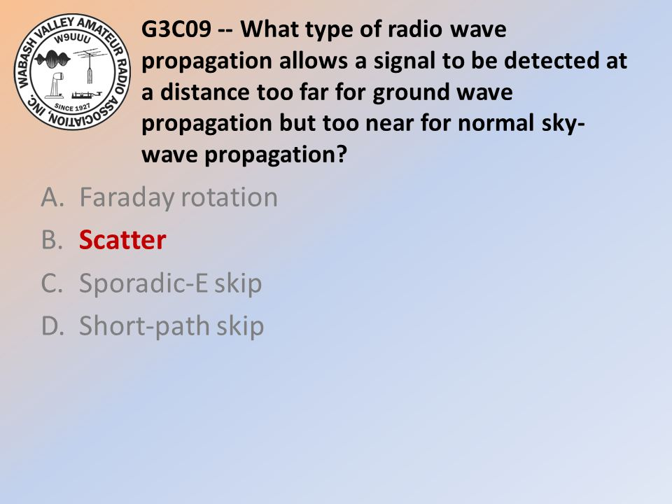 G3C09 -- What type of radio wave propagation allows a signal to be detected at a distance too far for ground wave propagation but too near for normal