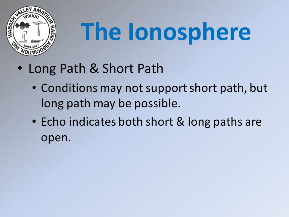Long Path & Short Path Conditions may not support short path, but long path may be possible. Echo indicates both short & long paths are open. The Iono