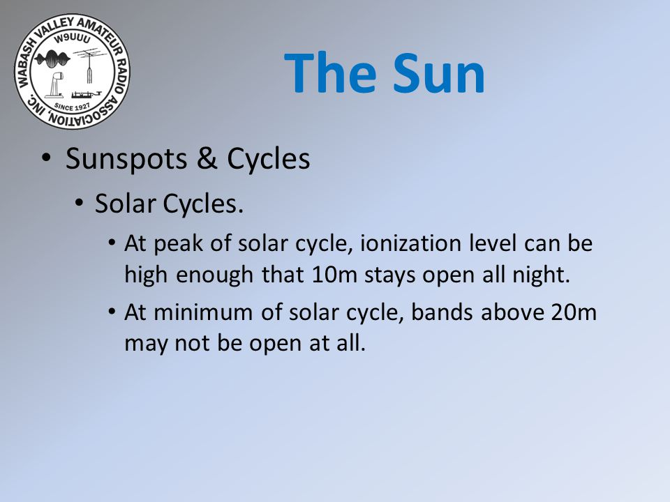 Sunspots & Cycles Solar Cycles. At peak of solar cycle, ionization level can be high enough that 10m stays open all night. At minimum of solar cycle,