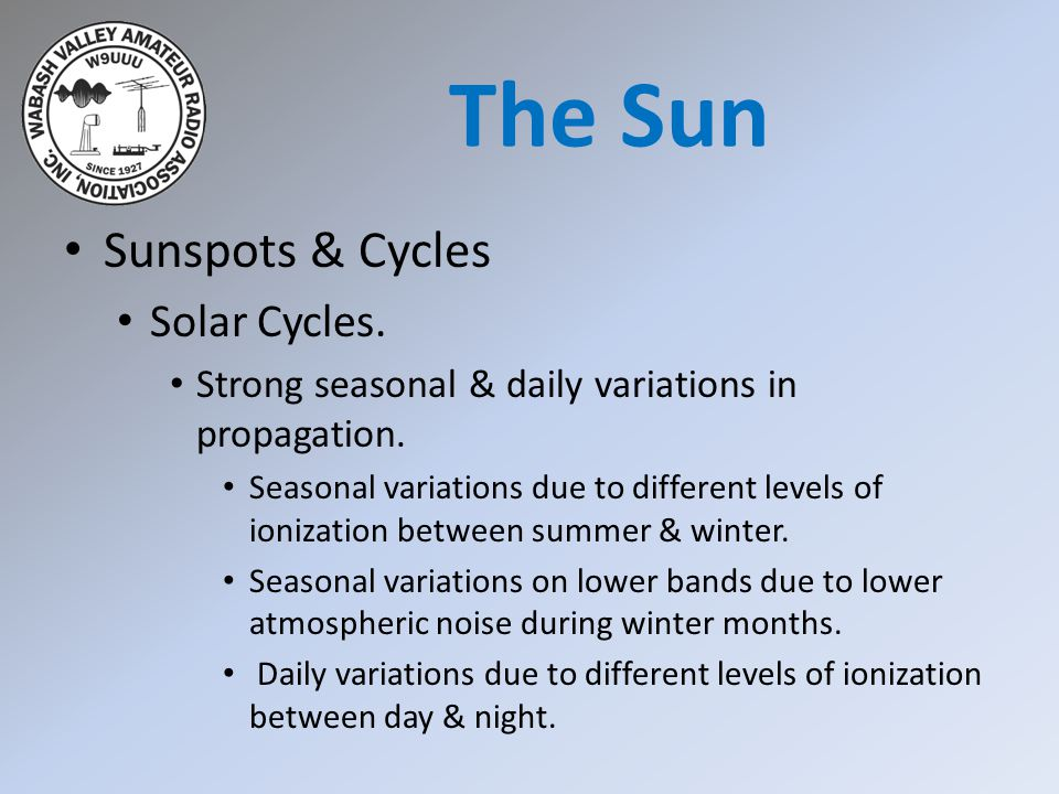Sunspots & Cycles Solar Cycles. Strong seasonal & daily variations in propagation. Seasonal variations due to different levels of ionization between s